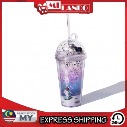 MILANDO Personality Gradient Space Flight Double Straw Cup Plastic Water Cup (Type 14)
