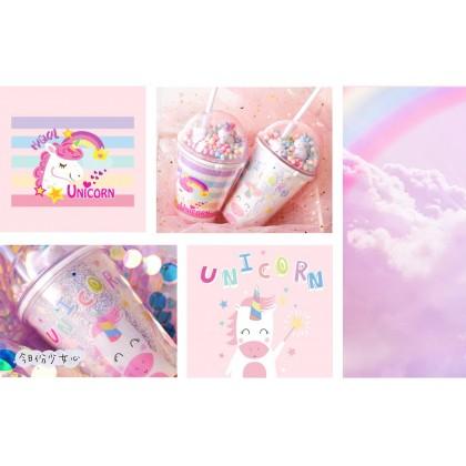 MILANDO Unicorn Plastic Water Cup Summer Straw Cup (Type 16)