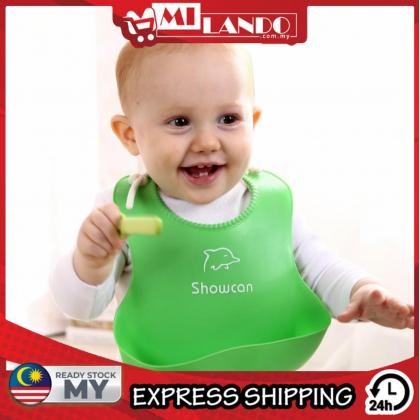 MILANDO Baby Adjustable Feeding Bib Waterproof Silicone Saliva Towel Baby Eating Meal Protective Bib (Type 1)